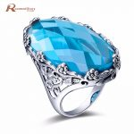 Authentic Real 925 Sterling Silver Love Knot Finger Ring with Sky Blue Stones For Women Engagement Ring Tibet <b>Handmade</b> <b>Jewelry</b>