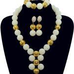 African White Beads Bridal <b>Jewelry</b> Set 2016 Fashion Women <b>Jewelry</b> Set <b>Handmade</b> Nigerian Beads Necklace Set Free Shipping 10067