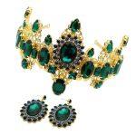 Vintage Classic Prom Luxury Hair <b>Jewelry</b> Baroque Large Green Rhinestone Crystal Bridal Tiara Pageant Wedding Queen Crown Diadem