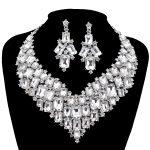 Luxurious Dubai style Wedding <b>Jewelry</b> Sets Rhinestone Crystal Bridal silver <b>Necklace</b> earrings Sets Women party Dress <b>Jewelry</b>