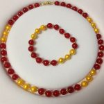 Women's Wedding Fashion 8-8.5MM Golden Akoya Cultured Pearl/Red GEM necklace Bracelet set real silver-<b>jewelry</b>