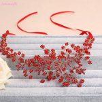 Jonnafe Red Beaded Women Prom Headband Wedding Tiara Rhinestone Bridal Hair Piece Accessories <b>Jewelry</b> Handmade