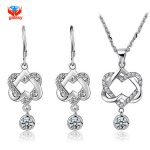 YHAMNI 100% 925 Sterling <b>Silver</b> Jewelry Sets Romantic Double Heart CZ Pendant Necklace <b>Earrings</b> Women Fashion Jewelry Sets YS061