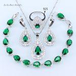 L&B Drop <b>Silver</b> color Green crystal White zircon Jewelry Sets <b>Bracelets</b>/Earrings/Pendant/Necklace For Women lady