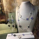 Brand Wedding Jewelry Set For Women <b>silver</b> Color purple Grey White Mother Shell Pearl Clover Leaf <b>Necklace</b> Earrings Bracelet Set
