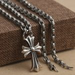 Wholesale S925 <b>Sterling</b> <b>Silver</b> <b>Jewelry</b> men's Cross Cross Arms Flower Pendant With CH Alphabet Necklace Domineering