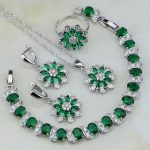 Sterling <b>Silver</b> Jewelry Flower Green Created Emerald White Zircon Jewelry Sets For Women Earring/Pendant/Necklace/<b>Bracelet</b>/Ring