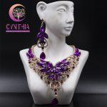 Fashion Crystal Statement Necklace Earings For Women Nigerian <b>Wedding</b> African Beads <b>Jewelry</b> kolye vintage <b>Jewelry</b> Set