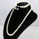 White pearl necklace set 6-7mm DIY beaded fish buckle necklace 18″ bracelet 7.5″ earrings Women <b>jewelry</b> <b>making</b>