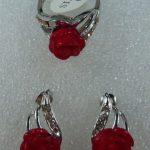 Prett Lovely Women's Wedding <b>Jewelry</b> Heart Red gem Flower Stud Earring Ring Set 5.23 silver <b>jewelry</b> boucle