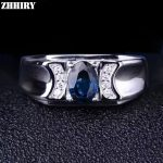 ZHHIRY Men And Women Rings Genuine Natural Sapphire 925 <b>Sterling</b> <b>Silver</b> Gemstone Ring Real Precious Fine <b>Jewelry</b>