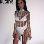 KUGUYS Fashion <b>Silver</b> Crystals Long Tassel Belly Chains Women Sexy Breast Chain Trendy Body <b>Jewelry</b> Dancers Clothing Accessories