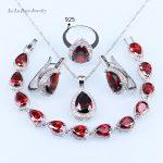 L&B Rhodolite created Garnet White Crystal <b>Silver</b> Color Women Jewelry Sets <b>Bracelet</b>/Pendant/ Necklace Chain/stud Earrings