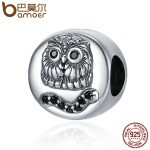 BAMOER 100% 925 Sterling Silver Cute Owl Animal Collection Round Shape Beads fit Charm Bracelet & Bangles DIY <b>jewelry</b> SCC332