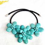 Fashion <b>Handmade</b> Flower stone howlite Choker Necklace Woman Gift Exaggerated <b>Jewelry</b> stone howlite Stone