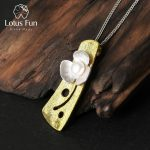 Lotus Fun Real 925 Sterling <b>Silver</b> Natural Pearl Handmade Fine Jewelry Fresh Clover Flower Pendant without <b>Necklace</b> for Women
