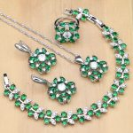 Flower Shaped 925 <b>Silver</b> Jewelry Green Zircon White Crystal Jewelry Sets Women Earrings/Pendant/Necklace/Rings/<b>Bracelet</b>