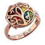 Personalized Customized Round Cage Ring Family Tree Birthstone Ring Family <b>Jewelry</b> Rose Gold Color