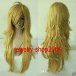Free Shipping New prom High Quality <b>Fashion</b> Picture full lace wigs>>New wig Cosplay Panty and Stocking Light Golden wig
