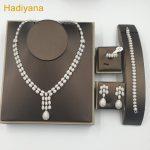 New Design Cubic Zircon 4pcs Wedding <b>Jewelry</b> Set Copper Waterdrop Oval-shaped Pendant Set <b>Jewelry</b> for Women Party Hadiyana CN059