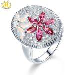 Hutang Natural Rhodolite Garnet & Opal Ring Solid 925 Sterling <b>Silver</b> Luxury Fine Gemstone <b>Jewelry</b> for Women Christmas Gift