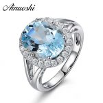 AINUOSHI 3ct Oval Natural Sky Blue Gemston Topaz Ring Solid 925 Sterling <b>Silver</b> Halo Ring For Women Charms Wedding Girls <b>Jewelry</b>