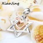 2018 new design 925 sterling silver Hexagram pendant chain necklace with love heart diy fashion <b>jewelry</b> <b>making</b> for women gifts