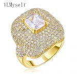 <b>Jewelry</b> <b>supplies</b> for party Gold color 2018 new big square Sparkly Zirconia crystal anillos Rings for women new arrival ring