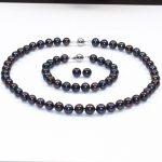 Women's Wedding charm Jew.657 sets AA 9-10mm FreshWater Cultured Pearl Necklace bracelets silver mujer moda