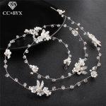 CC Wedding <b>Jewelry</b> Hairband Headband Simple Elegant Engagement Hair Accessories For Bridal Crystal Leaf Beads 100% <b>Handmad</b> hx193