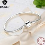 BISAER Authentic 100% 925 Sterling <b>Silver</b> Snake Chain Bead <b>Bracelet</b> & Bangle For Charms Luxury Jewelry WEUS902