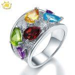 Hutang Natural Multicolor Gemstone Ring Women 925 Sterling <b>Silver</b> Fine <b>Jewelry</b> Peridot Blue Topaz Citrine Amethyst Garnet Rings
