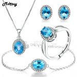 MoBuy 5pcs Natural Gemstone Blue Classic Topaz 4pcs Jewelry Sets 100% 925 Sterling <b>Silver</b> For Women Party Fine Jewelry V039EHNR