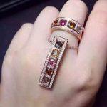Natural multicolor tourmaline gem <b>jewelry</b> sets natural gemstone ring Pendant 925 <b>silver</b> Two kinds wear array women fine <b>jewelry</b>
