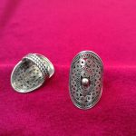 Guizhou Hmong <b>jewelry</b> ethnic style <b>handmade</b> Miao silver ring ring oval large bronze drum ring