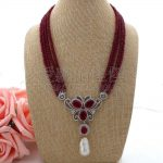"""N062306 19"""" 4 Strands Red <b>Necklace</b> White Keshi Pearl CZ Pave Pendant"""