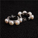 Natural Freshwater Pearls <b>Earrings</b> Hoop 925 Sterling <b>Silver</b> Clipped Elegant Retro Princess Birthstone Woman Lady Jewelry Gift