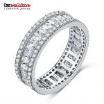 LZESHINE 100% 925 Sterling Silver Women Rings with Paved Clear Sparking CZ for Engagement/<b>Wedding</b>/Party/Gift Statement <b>Jewelry</b>
