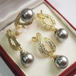 Prett Lovely Women's Wedding 1Set AAA 12mm Gray Shell Pearl Pendant Necklace Earrings Ring Set>AAA GP Bridal wid brincos