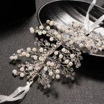 Crystal Pearl Wedding Headbands Silver Rhinestone Bride Hair Accessories <b>Handmade</b> Hairband Tiaras For Women Bridesmaid <b>Jewelry</b>
