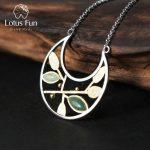Lotus Fun Real 925 <b>Sterling</b> <b>Silver</b> Natural Stone Handmade Fine <b>Jewelry</b> Spring in the Air Leaves Necklace with Pendant for Women