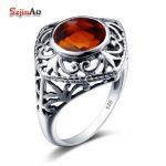 Szjinao Personalized <b>Jewelry</b> Wedding Ring Charm Star Shape Brown Stone Vintage 925 Silver Ring Rock <b>Handmade</b> Female Bijouterie