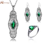 High Quality Indian Jewelry Set Green Stone Crystal Vintage Bohemia Style 925 Sterling <b>Silver</b> Set For Brides Wedding Accessories