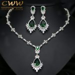 CWWZircons Exquisite Women Green Big Costume Jewellery Sets Cubic Zirconia Wedding Party <b>Necklace</b> Earring <b>Jewelry</b> T094