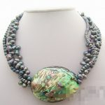 Hot sale Free Shipping>>>>> 4Strds Black Pearl&Paua Abalone Shell <b>Necklace</b>