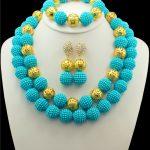 Free Shipping Nigerian Wedding Balls Beads <b>Jewelry</b> Set Light Blue African Costume <b>HandMade</b> Balls Beads Necklace <b>Jewelry</b> Sets