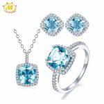 Hutang Solid 925 <b>Sterling</b> <b>Silver</b> Natural Gemstone Sky Blue Topaz Pendant & Earrings & Ring Fine <b>Jewelry</b> Sets For Women's Gift