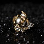 restoring ancient ways for Italy technology original natural black pearl flower ring, 925 silver <b>handmade</b> <b>jewelry</b>