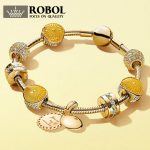 ROBOL 100% 925 Pando Original Sterling <b>Silver</b> Brand New 1:1 Authentic 14K Gold Dazzling Warm Sunny <b>Bracelet</b> Jewelry FOR Women