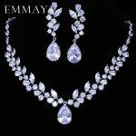 EMMAYA Brand Flower Design AAA+ CZ <b>Wedding</b> <b>Jewelry</b> Sets For Women Silver Color Necklaces Pendant Stud Earrings Gift